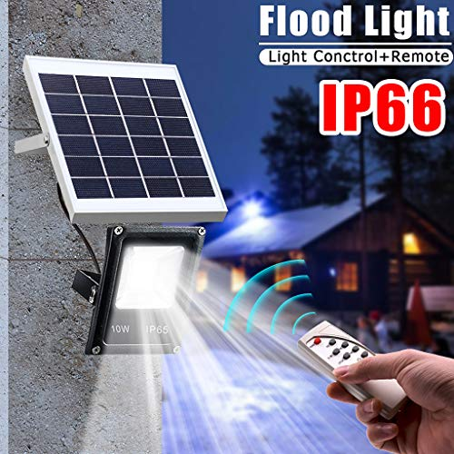 (Tpingfe White Spotlight Solar Flood Light, 10W RGB Waterproof Outdoor Led Flood Light with Wireless Remote Control (Small) )