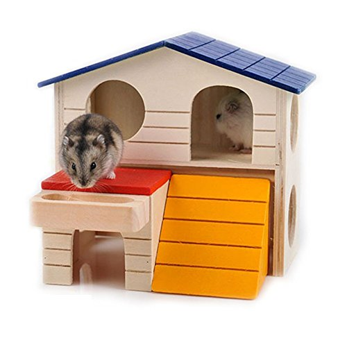 WOWOWMEOW Small Animals Hideout Hamster House Two Layers Wooden Hut