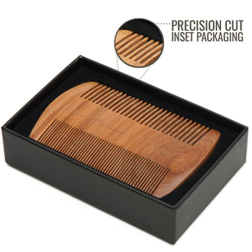 Beard Comb - Natural Sandalwood for Hair with Scented Fragrance Smell with Anti-Static - Handmade Fine Tooth Brush Best for Beard Moustache Packaged in Giftbox by Rocky Mountain Barber Company (Image #6)