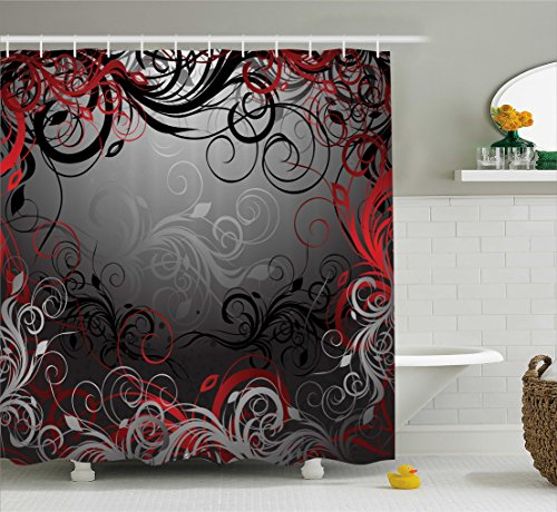 Red and Black Shower Curtain by Ambesonne, Mystic Magical Forest Inspired Floral Swirls Leaves Nature Artwork, Fabric Bathroom Decor Set with Hooks, 70 Inches, Charcoal Grey Ruby by Ambesonne