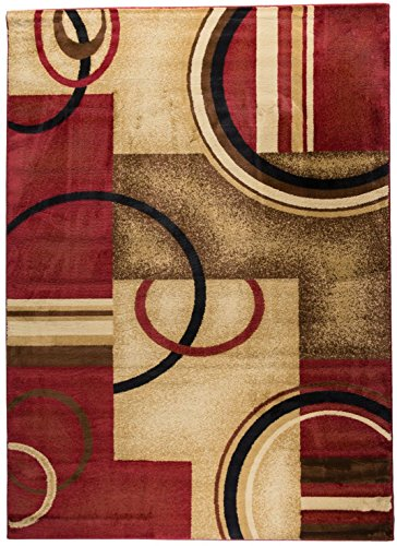 Well Woven Barclay Arcs & Shapes Red Modern Geometric Area Rug 9'3'' X 12'6''