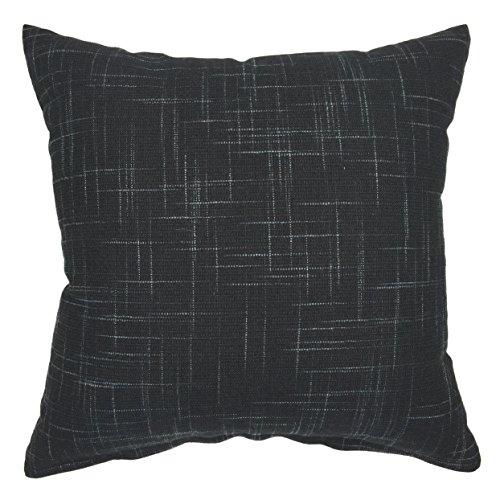 YOUR SMILE Solid Black Square Cotton Linen Decorative Throw Pillow Case Cushion Cover Pillowcase for Sofa 22 x 22 Inch (Black Linen Pillow Cover)