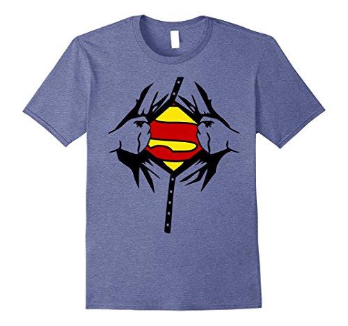 Mens Halloween Superhero Costume Man Woman Kids T shirt Medium Heather Blue (Superhero Halloween Costume Ideas)