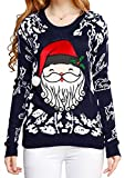 Image of v28 Women Ugly Christmas Embroid Reindeer Santa Orchestra Party Sweater Jumper (Medium, Cute Santa Navy)