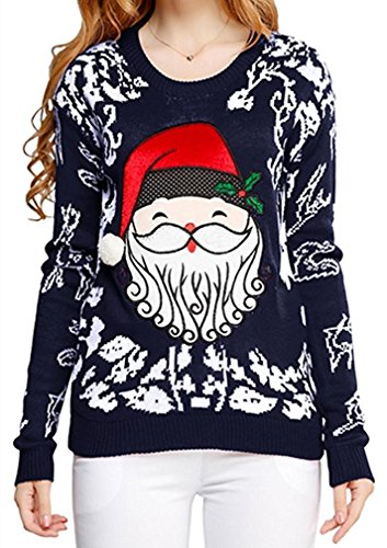 v28 Women Ugly Christmas Embroid Reindeer Santa Orchestra Party Sweater Jumper (Medium, Cute Santa Navy) Image