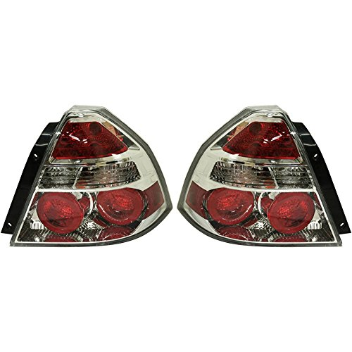 Chevrolet Aveo Light - Evan-Fischer EVA15672058406 Tail Light for 2008 Chevrolet Aveo Set of 2 Halogen Clear & Red Lens With Bulb(s) Left and Right Side