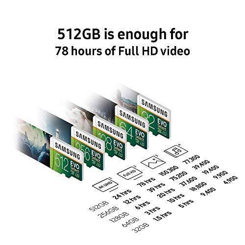 Samsung 256GB 100MB/s (U3) MicroSDXC EVO Select Memory Card with Adapter (MB-ME256GA/AM) (Renewed)