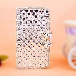 EVTECH (TM) la piel blanca y Fox Head serie material metálico Caso Tipo Cartera de cuero del tirón del imán Diseño 3D hecha a mano cristalina del Rhinestone de la PU (100% Artesanal) (Samsung Galaxy Note 4 SM-N910S)