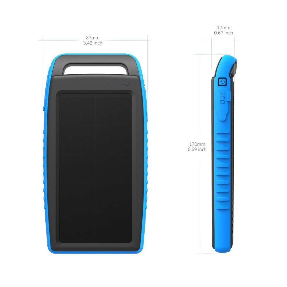 BigBlue Solar Battery Charger, 10000mAh IPX4 Waterproof Dual USB Ports Emergency Solar Powered Charger 6 LED Light Fast Charging Cellphone Tablet More Devices, Blue by BigBlue (Image #5)