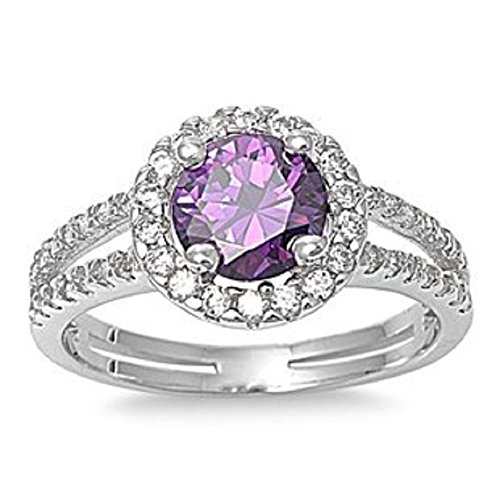 - ALL NATURAL GENUINE GEMSTONE- 6mm 1.15ctw Sterling Silver Solitaire FEBRUARY PURPLE ROUND BIRTHSTONE Channel Band Pave Cz Accents Ring 5-10 (7)