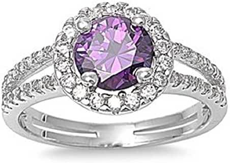 ALL NATURAL GENUINE GEMSTONE- 6mm 1.15ctw Sterling Silver Solitaire FEBRUARY PURPLE ROUND BIRTHSTONE Channel Band Pave Cz Accents Ring 5-10