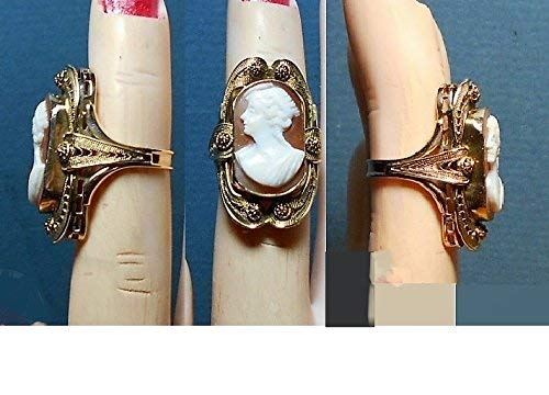 1 10K Gold Large Shell Cameo Ring Vintage Hand Carved,