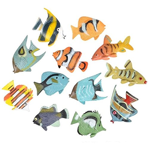 "Neliblu 12 1.5"" Tropical Fish by Hands On Learning; Adorable Sea Creatures, for Educational Purposes, Party Favors, Party Decorations, Sensory Toys, Fishing Games, Cupcake Toppers & Cake Decorating"
