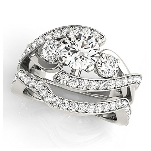 14K White Gold Unique Wedding Diamond Bridal Set Style MT50942