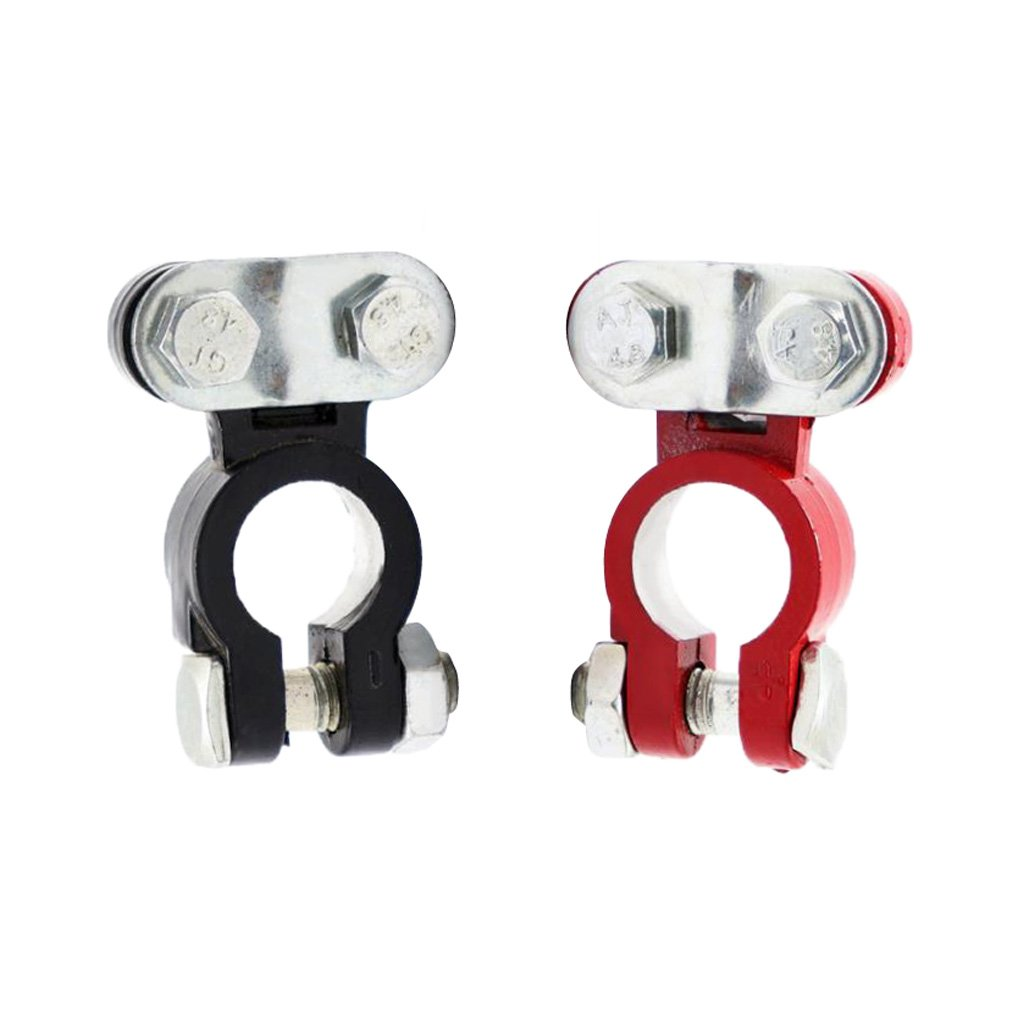 IPOTCH 2 Pieces Replacement Auto Car Battery Terminal Clamp Clip Connector Neg+Pos