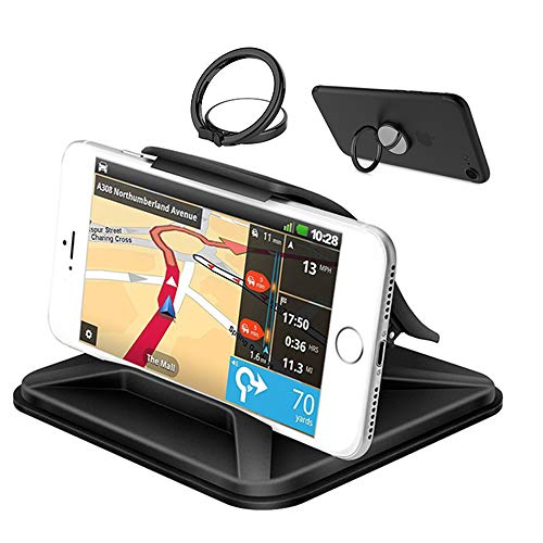 Cell Phone Holder for Car, YuCool Non-Slip Pad Dashboard Cradle, Car Phone Mounts for All 3-7inch Smartphones or GPS Devices-Black (Mount Gps Inch 7)