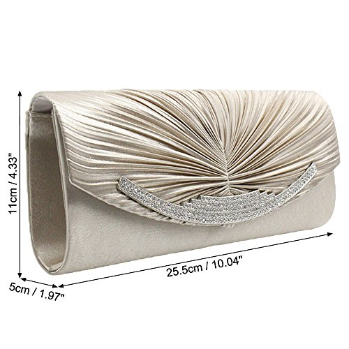 Clutch Bag Lady Satin Purse Handbag Crystal black With Women Chain Day Evening Wiwsi wOTRxqA