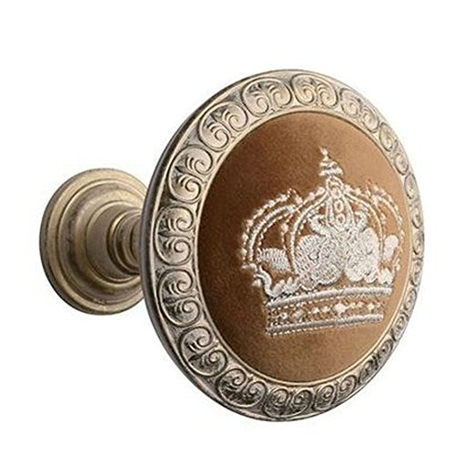 EleCharm 1Pair Embroidery Crown Drapery Medallion Holdback Curtain Wall Hooks (Aged -