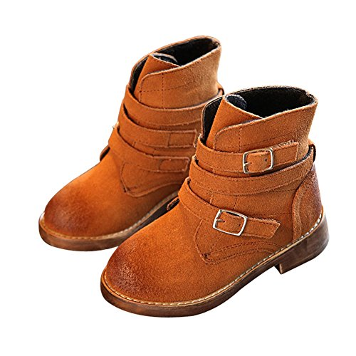 T-JULY Kids Buckle Straps Combat Boots Boys Suede Warm Fur Ankle Riding Snow Shoes (Toddler/Little Kid)