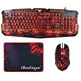 BlueFinger Wired LED Backlit Gaming Keyboard and Mouse Combo for PC Games Office+Customised MousePad