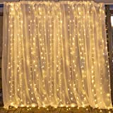 String lights Window Curtain,300 LED Icicle Fairy Twinkle Starry Lights-UL Listed for Indoor and Outdoor, Wedding, Christmas, Home Bedroom Wall Decoration, Party (9.8ftx9.8ft,Warm white)