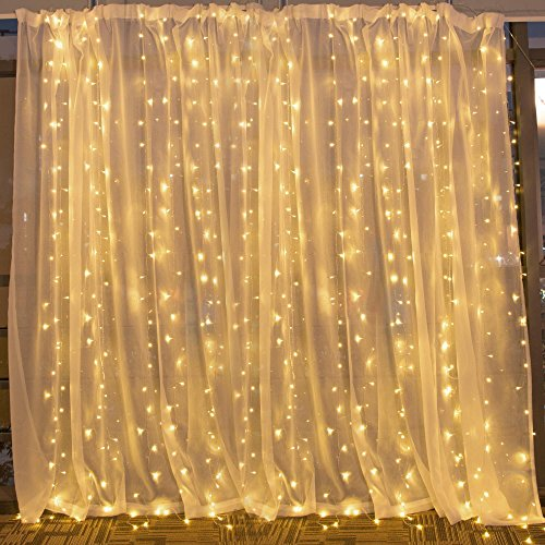 String lights Window Curtain,300 LED Icicle Fairy Twinkle Starry Lights-UL Listed for Indoor and Outdoor, Wedding, Christmas, Home Bedroom Wall Decoration, Party (9.8ftx9.8ft,Warm white) by Brightown