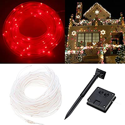 SZMINILED Chirstmas Lights 33ft 100LEDs Solar Rope Lights Red for Holiday Wedding Party Christmas Decoration
