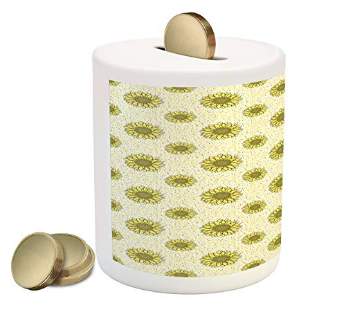 Ambesonne Yellow Polka Dot Piggy Bank, Layout of Sunflower Silhouettes Leaves and Mini Spots, Printed Ceramic Coin Bank Money Box for Cash Saving, Pastel Yellow Dark Grey ()