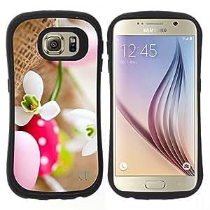 """Hypernova Slim Fit Dual Barniz Protector Caso Case Funda Para Samsung Galaxy S6 [Huevo flor de la nieve primavera Naturaleza""""]"""