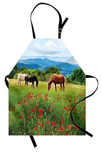 (Ambesonne Horses Apron, Various Kinds of Horses Eating Grass in Field Mountain Landscape Rural Scene Print, Unisex Kitchen Bib Apron with Adjustable Neck for Cooking Baking Gardening, Red)