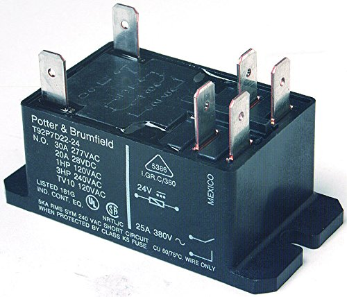 TE CONNECTIVITY/POTTER & BRUMFIELD T92P7A22-24 POWER RELAY, DPST-NO, 24VAC, 30A, (Dpst Relay)