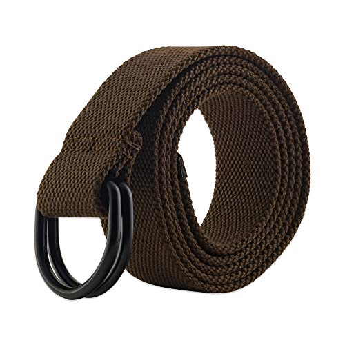 E-Living Store Men's and Women's Canvas D-Ring Belts With Metal Tip, (Available in Multiple Solid Colors & Sizes), Brown, Small (Waist Size 32-35