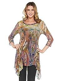 Kaktus Women's 3/4 Sleeve Asymmetrical Multi Print Tunic (Plus Size Available)
