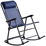 Blue Folding Zero Gravity Rocking Chair Rocker Armrest Comfortable Headrest Glider Porch Seat Backyard Patio Lawn Deck Outdoor Garden Pool Side Furniture Solid Steel Construction Ergonomic Design