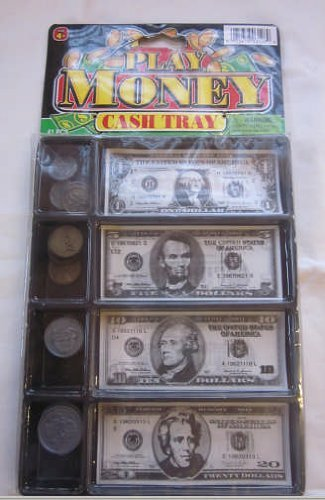 Jaru #3128 Play Money Cash Tray 20 Coins and 20 Bills Kids Pretend Toy