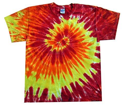 Rockin' Cactus Men's Tie Dye T-Shirt-Fire Spiral-XL