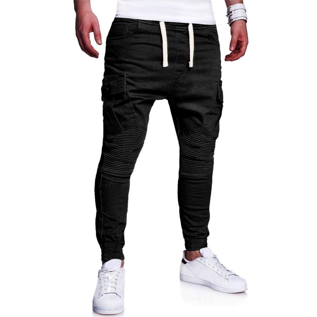 Realdo Hot!Clearance Sale Fashion Men's Sport Joint Lashing Belts Casual Loose Drawstring Jogger Pant(XX-Large,Black)