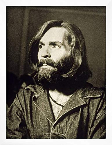 (ArtEdge Serial Killer Charles Manson on December 3, 1969 During His Arrest in Sharon Tate Affair Wall Art Framed Print, 16x12, White Unmatted)