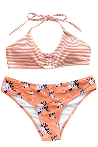 's Stripe Top Floral Printing Bottom Halter Padding Two Piece Swimsuits Beach Bathing Suit , Orange, L(US 12-14) ()