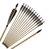 IRQ 32inch Archery Wooden Arrows with Feathers Fletching Glue-on Field Points Black Nocks Hunting Target Arrows for Recurve Traditional Longbow 12 PACK