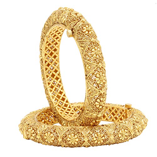 Ratna Indian Bollywood Designer Women Wedding Style Pakistani Gold Drop Bangles Bracelet Pair Jewelry (2.4)