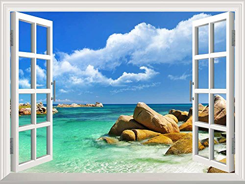 Removable Wall Sticker Wall Mural Tropical Landscape Seychelles Paradise Creative Window View Wall Decor