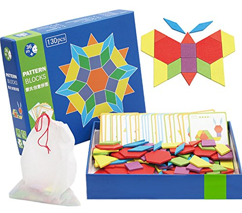 Wooden Pattern Blocks | Classic Educational Toy with 130 Geometric Shape Pieces and 24 Designs