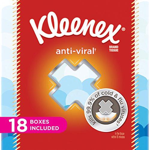 Kleenex Anti-Viral Facial Tissues, Cube Box, 68 Tissues per Cube Box, 18 Packs