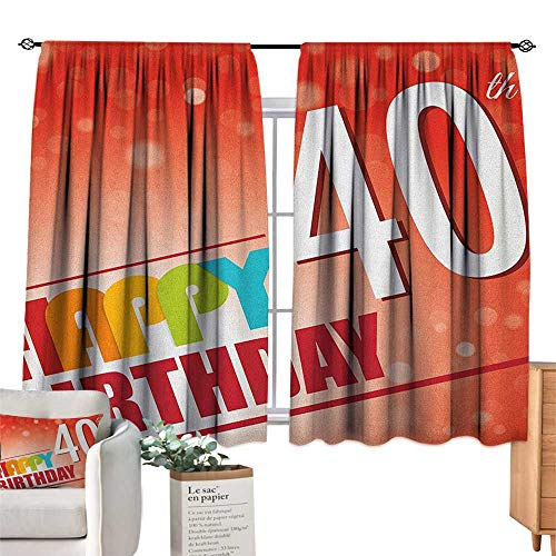 40th Birthday,Blackout Drapes Party Invitation in Vibrant Colored Retro Style and on Bokeh Effect Backdrop Blackout Curtains for Bedroom W55 x L45 ()