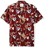 28 Palms Men's Standard-Fit 100% Cotton Tropical Hawaiian Shirt, Red Parrot, X-Large