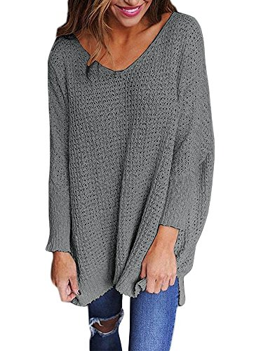 - Mafulus Womens Oversized Sweaters Casual V Neck Long Sleeve Loose Knit Pullover Tops (X-Large, Grey)