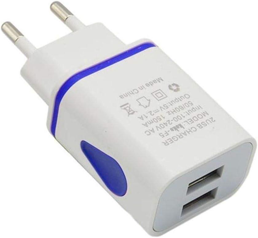lorjoy USB Cargador de Pared Doble Puerto 2A Salida del Recorrido del Enchufe Adaptador de alimentación Compatible para el teléfono Enchufe de la UE ...
