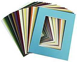 100 Pcs of 8x10 Picture Mats Mattes Matting for 5x7 Photo + Backing + Bags, Mix Color