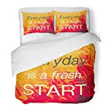 Emvency 3 Piece Duvet Cover Set Brushed Microfiber Fabric Inspiration Quote Everyday is Fresh Start on Vintage of Field in Sunlight Breathable Bedding Set with 2 Pillow Covers Twin Size